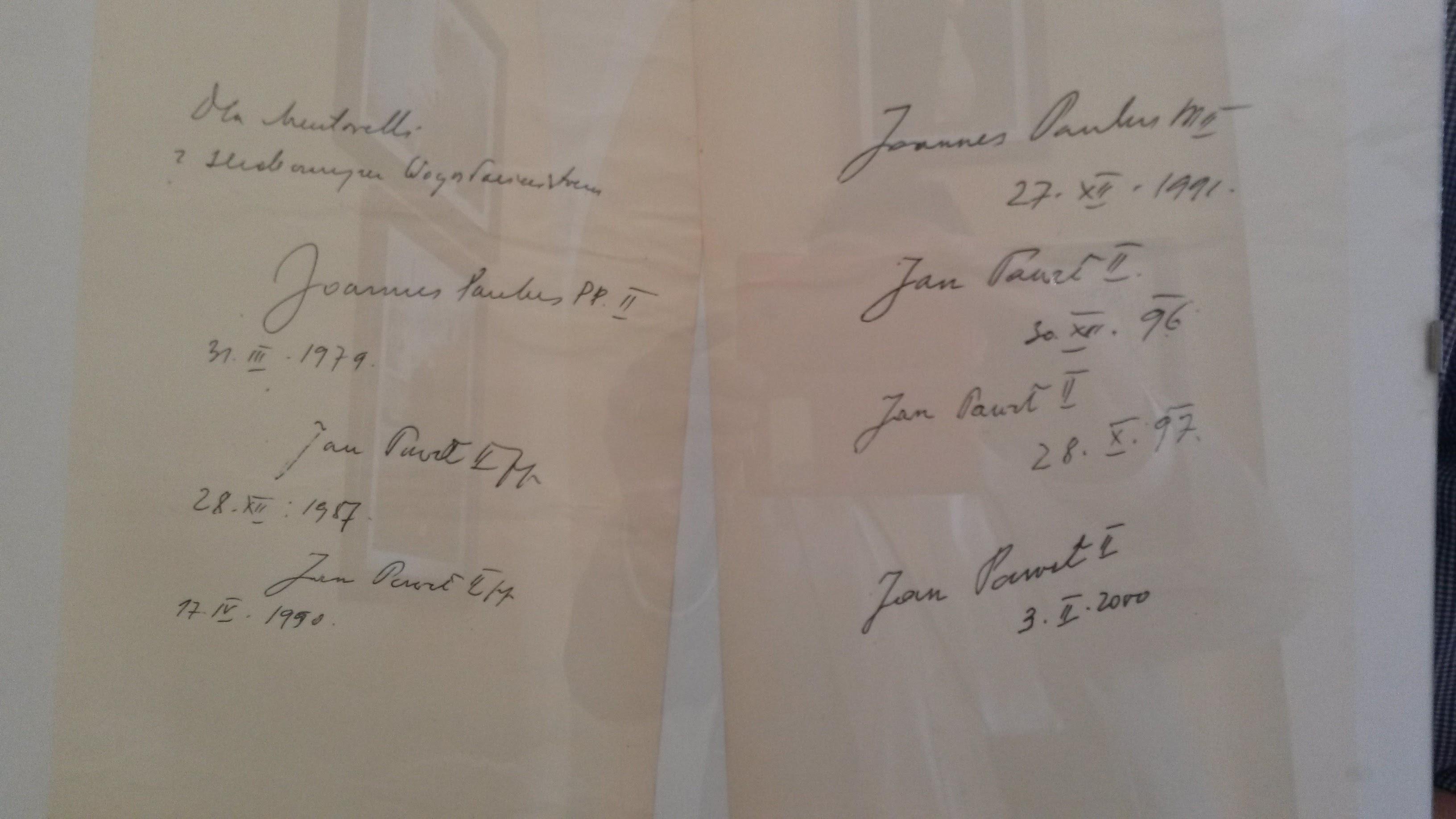 firme Giovanni Paolo II alla Mentorella