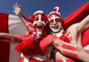 14/06/2010 - 2010 FIFA World Cup - Netherlands vs. Denmark - Denmark fans covered in body paint - Photo: Simon Stacpoole / Offside.